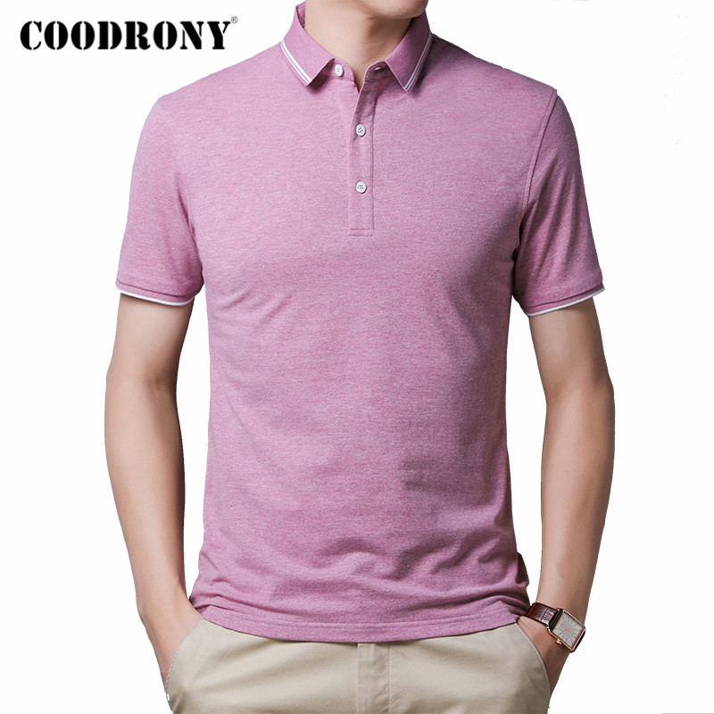 COODRONY Spring Summer Business Casual T-Shirt Men Small Collar Short Sleeve T Shirt Men Clothes Cotton Tee Shirt Homme C5010S