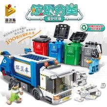 PANLOS 660002 Ideas Series Garbage Classification Sanitation Truck Building Block Bricks Educational DIY Kids Toys For City