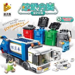 Image 1 - PANLOS 660002 Ideas Series Garbage Classification Sanitation Truck Building Block Bricks Educational DIY Kids Toys For City