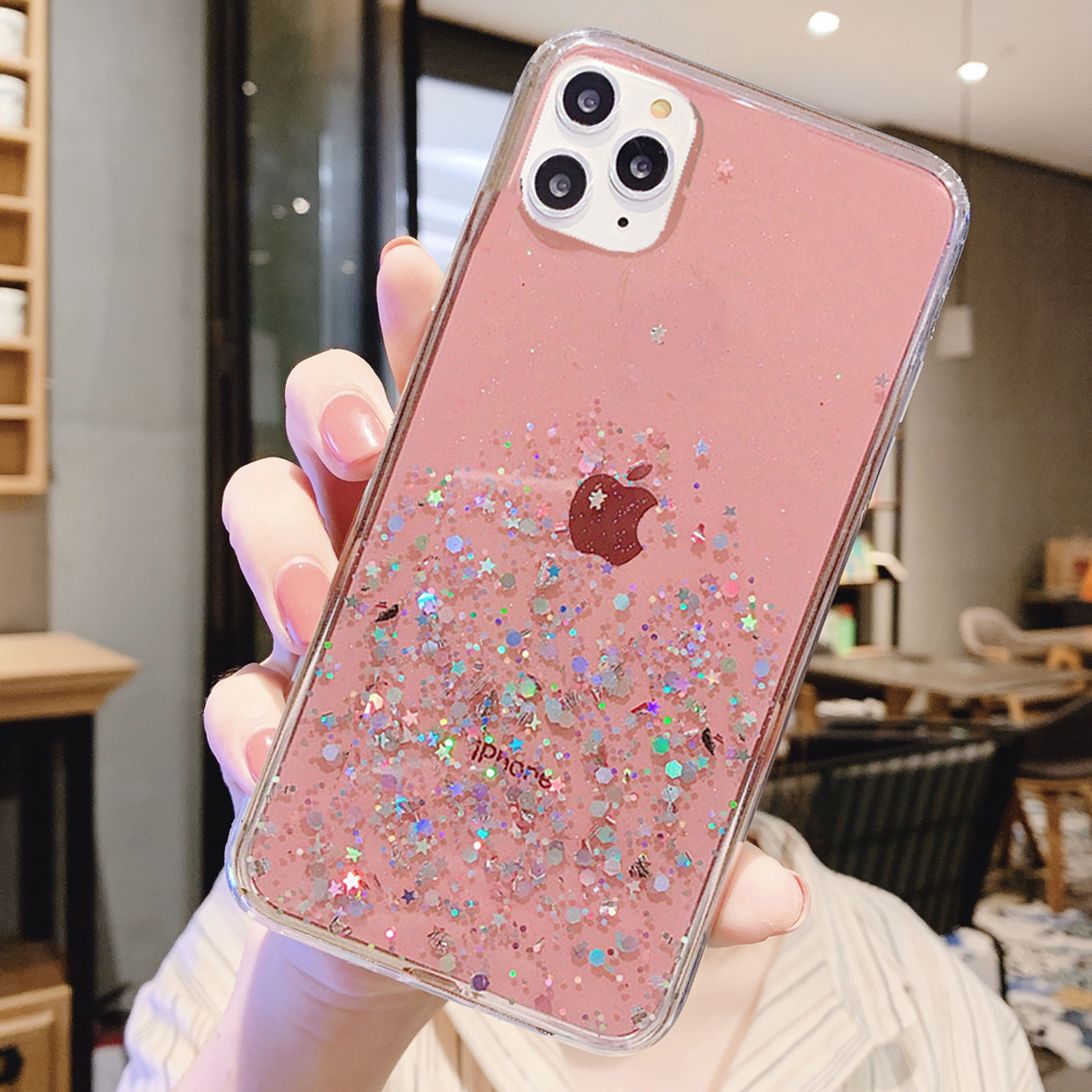 Bling Glitter Epoxy Star Transparent Sequins Case For Iphone X XS XR XS 11 Pro Max 8 7 6 6S Plus 10 Sequins Soft TPU Cover