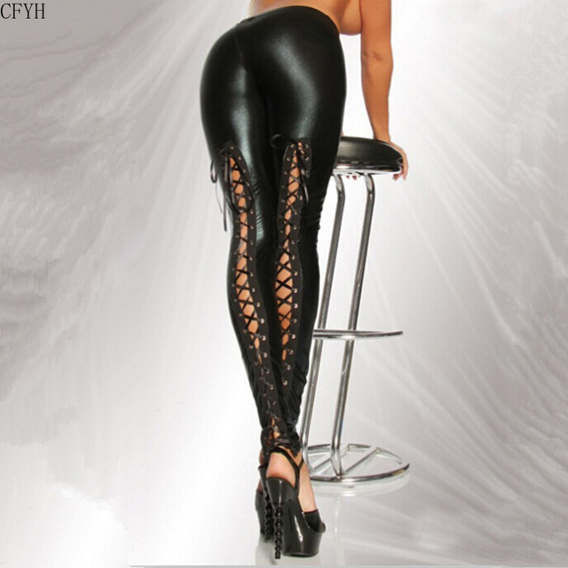 Sexy Latex Faux Leather Legging 2