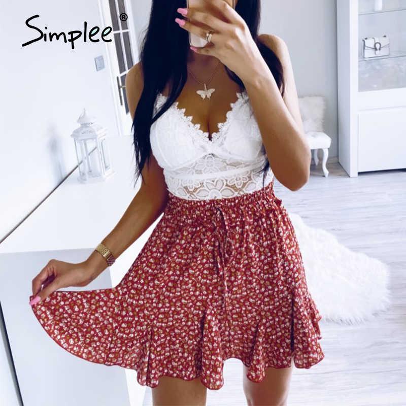 Simplee a-line saias femininas verão boho cintura alta babados floral imprimir saia feminina casual beach wear rendas até senhoras mini saia