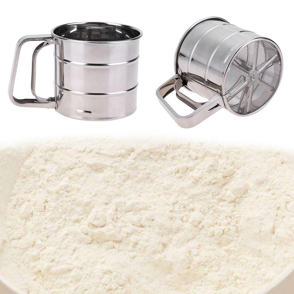 Stainless Steel Sieve Cup Powder Mesh Crank Handheld Flour Sifter for Flour Icing Sugar Mesh Sieve Kitchen Sugar Bake Tools