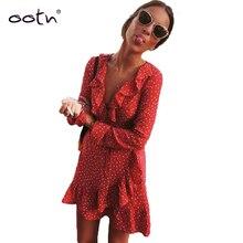 Bclout Red Ruffled Mini Warp Sun Dress Women Long Sleeve Short Stars Dresses Vintage Tunic Female 2020 Autumn Sexy Black Blue
