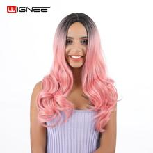 Wignee  Long Wavy Synthetic Wig For Women Middle Part  Ombre Black Pink High Density Temperature Cosplay  Fake  Hair Scalp Wigs long middle part wavy colormix synthetic wig