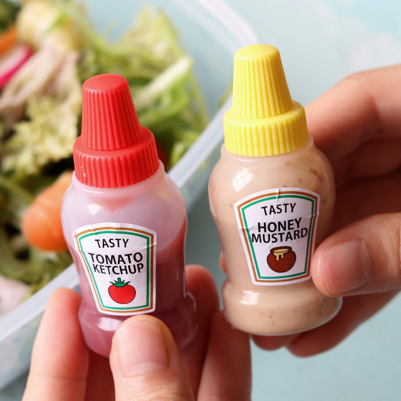 2pcs 25ml Condiment Bottles Lids Ketchup Portable Small Sauce Salad Dressing Bottle For Lunch Box Jar Food Storage Container