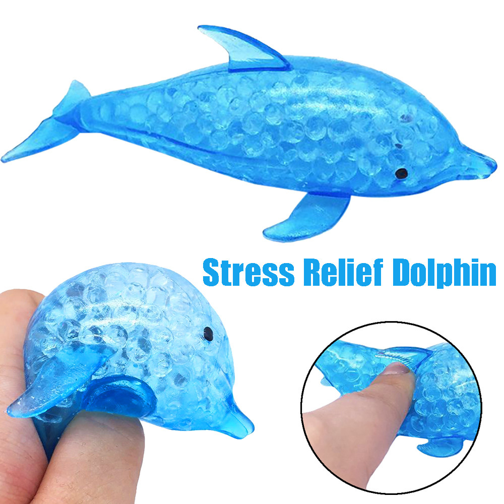 Hot Sale Funny Toy Squeeze Spongy Dolphin Bead Stress Ball Toys Squeezable Squishies Toy Stress Relief Decompression Toys
