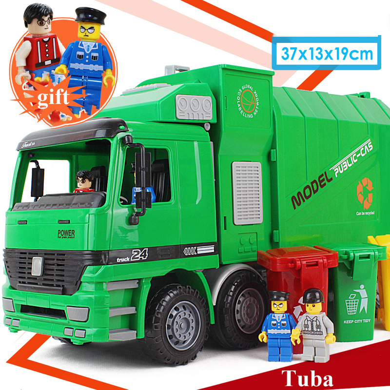 1:12 Children's Sanitation Garbage Truck Toy Simulation Inertia Engineering Cleaning Car Model Distribution Three Trash Cans