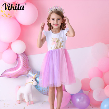 VIKITA Unicorn Dress for Girls Children Cartoon Vestidos Kids Tutu Dresses Toddlers Summer Dress Sleeveless Princess Dresses vikita girls unicorn dress princess tutu dress for girls children birthday party licorne vestidos kids autumn winter dresses