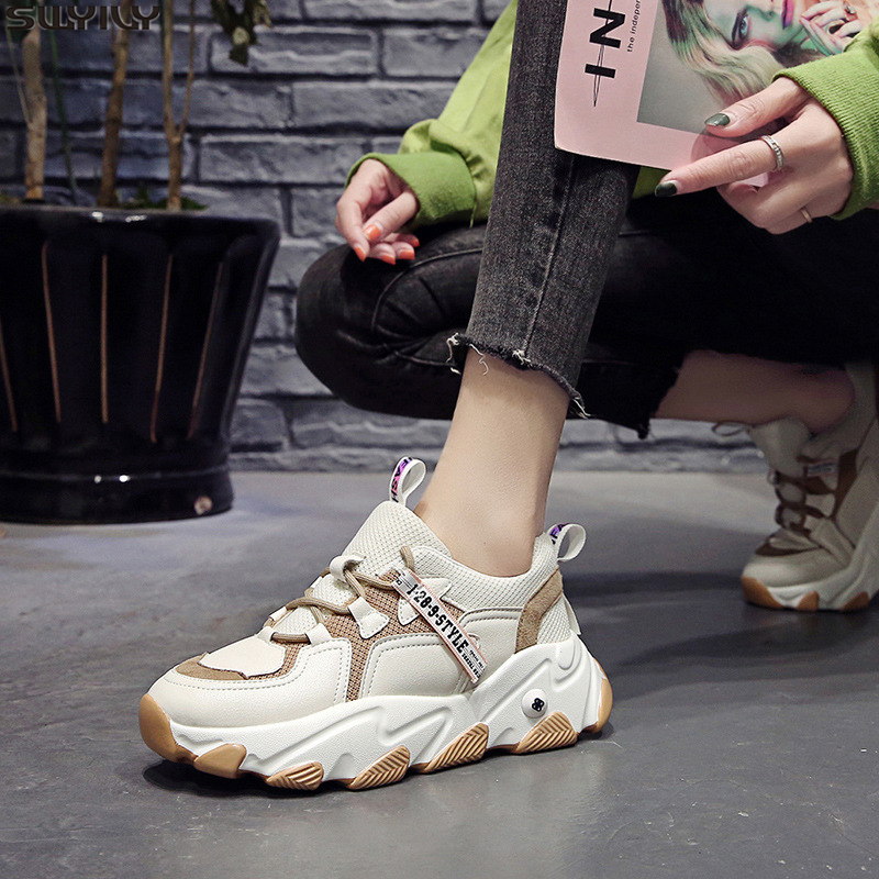 SWYIVY Chunky Sneakers Women Mesh Female Casual Shoes Hot Sale 2020 Spring Platform Sneakers For Women Shoes Fashion Ladies Shoe