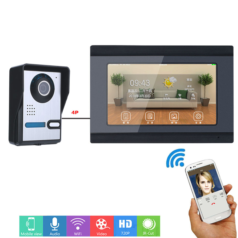 7inch Wired Wifi Video Door Phone Doorbell Intercom Entry System With IR-CUT HD 1000TVL Wired Doorbell Camera Night Vision