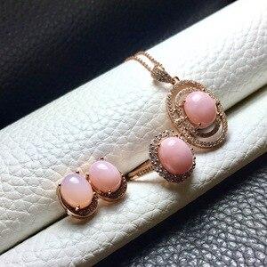 Image 4 - MeiBaPJ Natural Pink Opal kolczyki z kamieniami szlachetnymi pierścionek i naszyjnik 3 garnitur dla kobiet prawdziwe 925 srebro Fine Jewelry Set