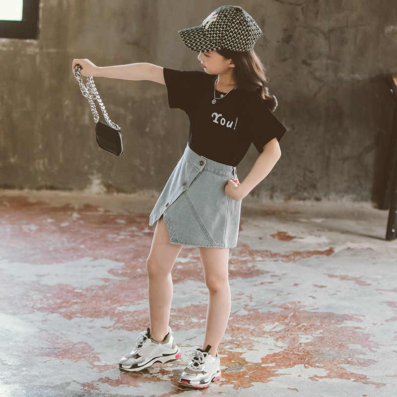 2020 bambini di estate Del Bambino vestiti Delle Ragazze sexy adolescente bianco T shirt + jeans di Shorts gonne 3 4 5 6 7 8 9 10 11 12 anni