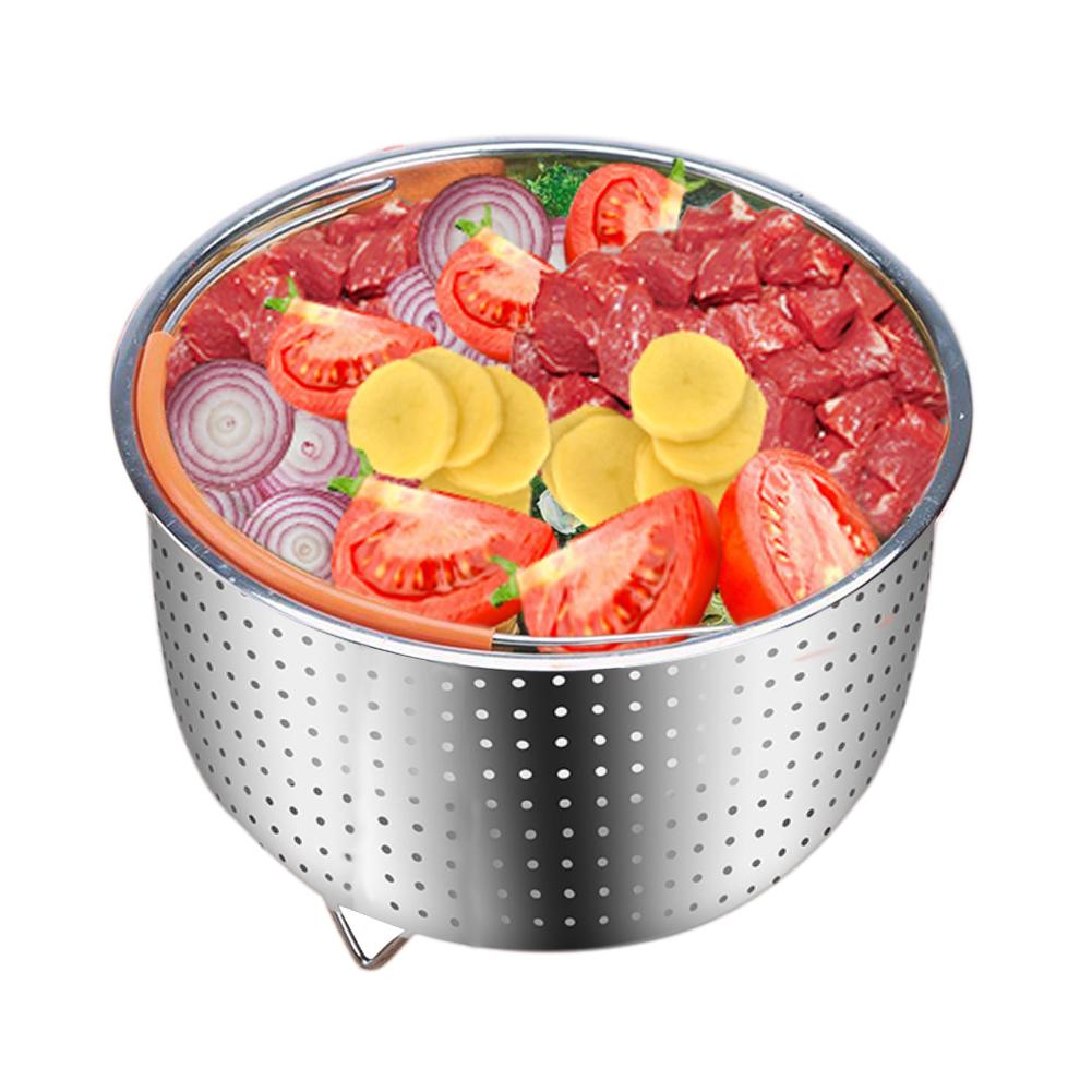 304 Stainless Steel Rice Cooker Steam Basket Pressure Cooker Anti-scald Steamer Multi-Function Fruit Cleaning Basket 30E