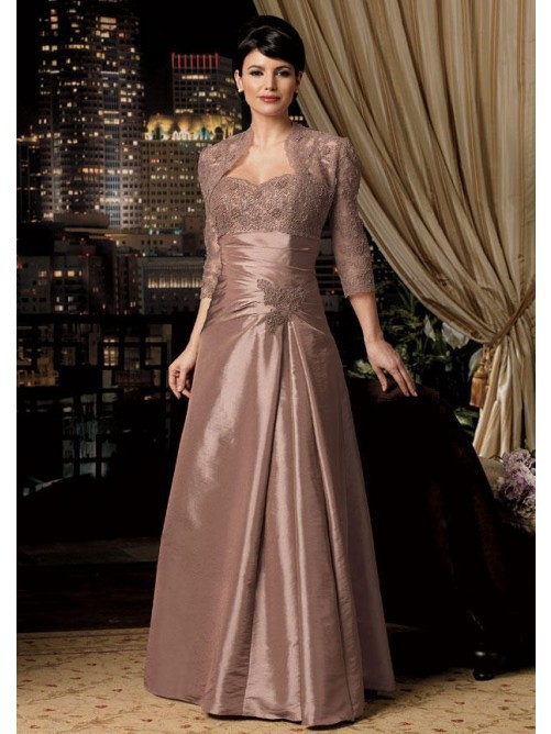 2015 New Sweetheart Lace Mother Of The Bride Dress With Jacket New Arrival Mother Of The Bride Dress With Sleeves Draped