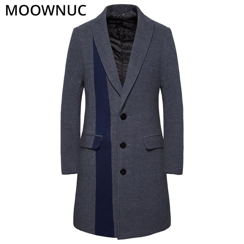 Smart Casual MOOWNUC Woollen Overcoat Patchwork Male Men's Clothes Men's Coats Winter Autumn Fashion Business High-quality MWC