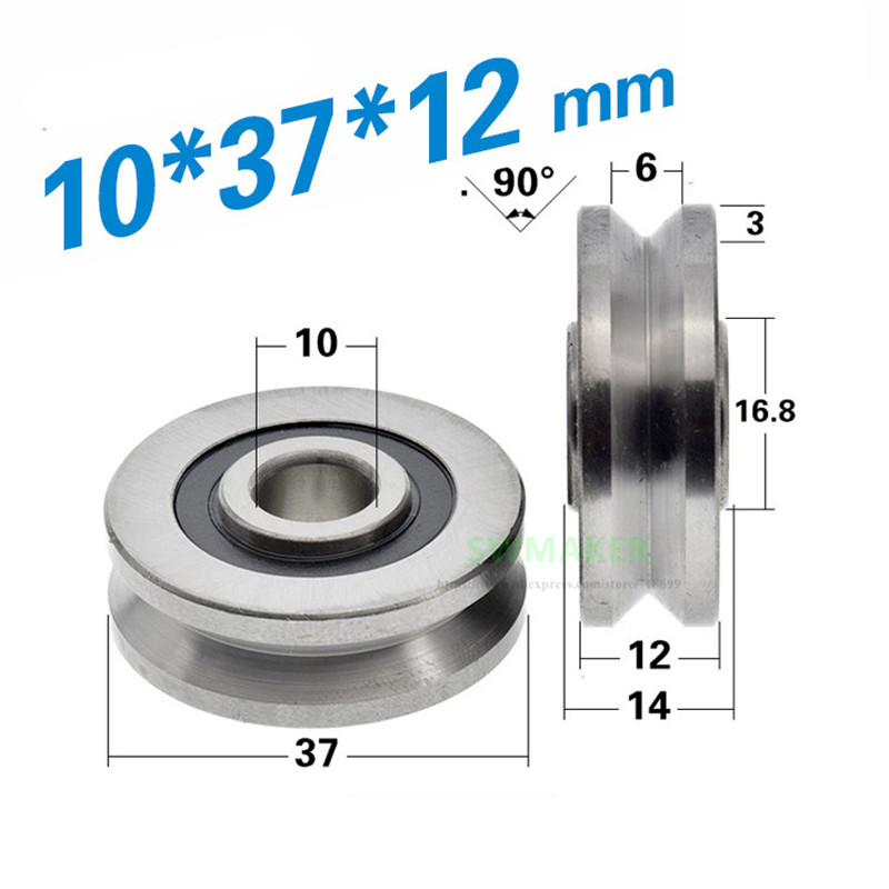 SWMAKER 1pcs 10*37*12mm V type grooved bearing concave wheel, for right angle track, wire rope lifting /guide wheel