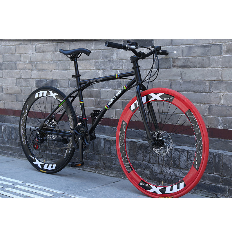 Bicycle Road Bike 26 Inch 24 Speed Fixed Gear Bicycle Disc Brakes Shift Network Red Racing Students Adult Men And Women