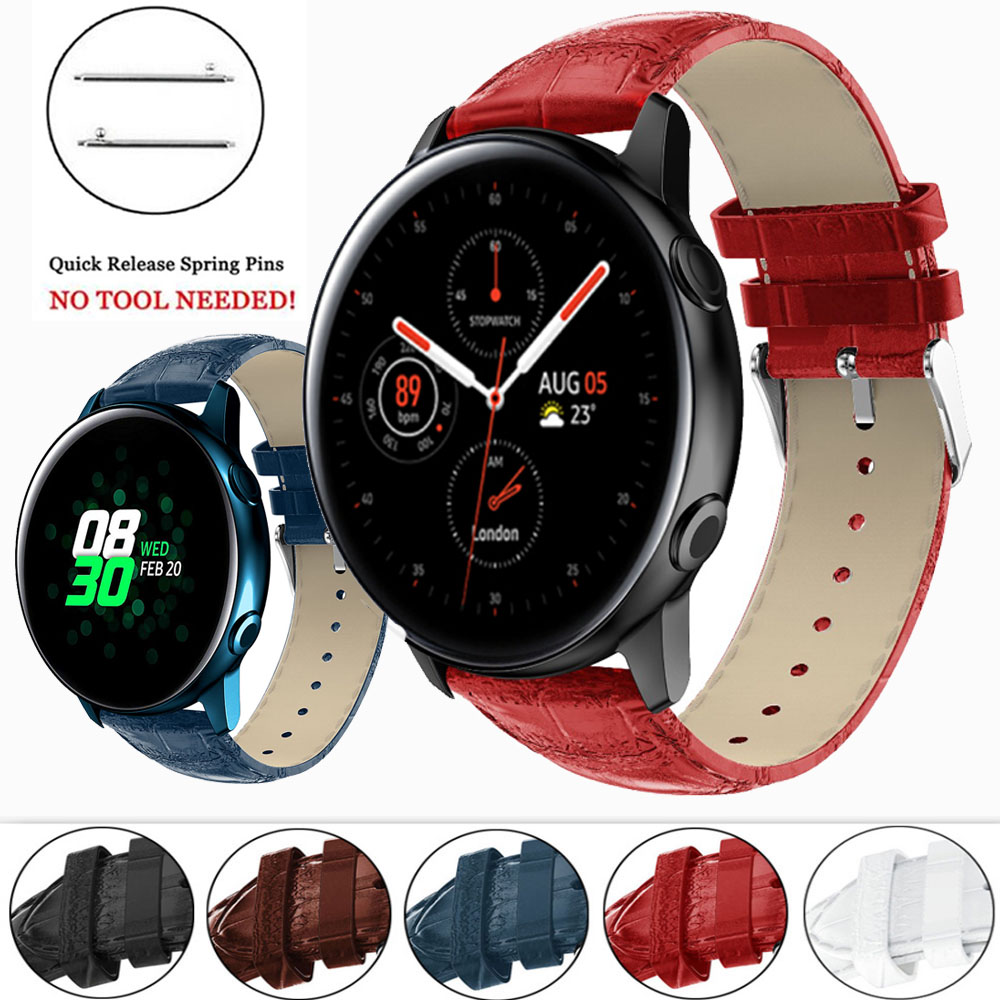 For Samsung Galaxy Watch Active 2 40mm 44mm Active2 Galaxy 42mm Gear S2 Sport Genuine Leather Band Strap Bracelet Belt Watchband