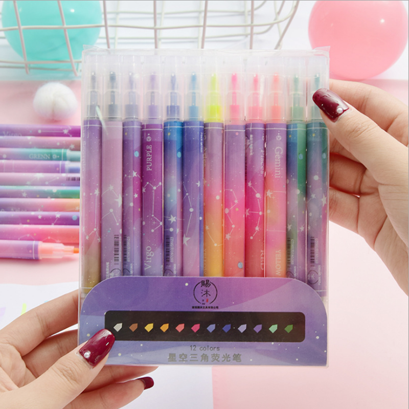 12PCS Highlighter Double-head Art Marker Pens Pastel Liquid Fluorescent Pen School Color Pens Stationery Bullet Journal Supplies