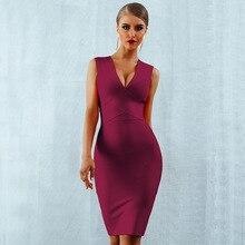 Seamyla 섹시한 드레스 클럽 착용 파티 드레스 2019 새로운 도착 민소매 오렌지 와인 레드 여성 붕대 드레스 Bodycon Vestidos