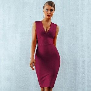 Image 1 - Seamyla 섹시한 드레스 클럽 착용 파티 드레스 2019 새로운 도착 민소매 오렌지 와인 레드 여성 붕대 드레스 Bodycon Vestidos
