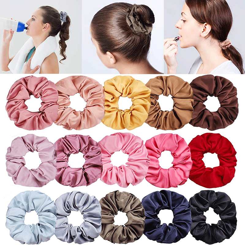 New Arrival 1PC Lovely Hair Bands Hair Tie Girls Scrunchies Ponytail Holder Women Hair Rope Fashion Satin Bright Color 2019 New