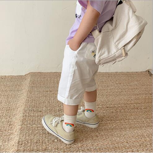 1-8 Year Autumn Boys and Girls Socks Rainbow Plaid Kids Socks 4