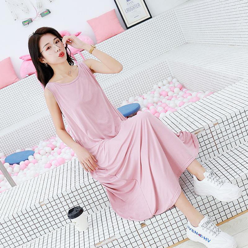 PURE COLOR SLEEVELESS DRESS LOOSE SUMMER NEW SLEEPTHE SKIRT IS ALL-MATCH IN LITERARY STYLE