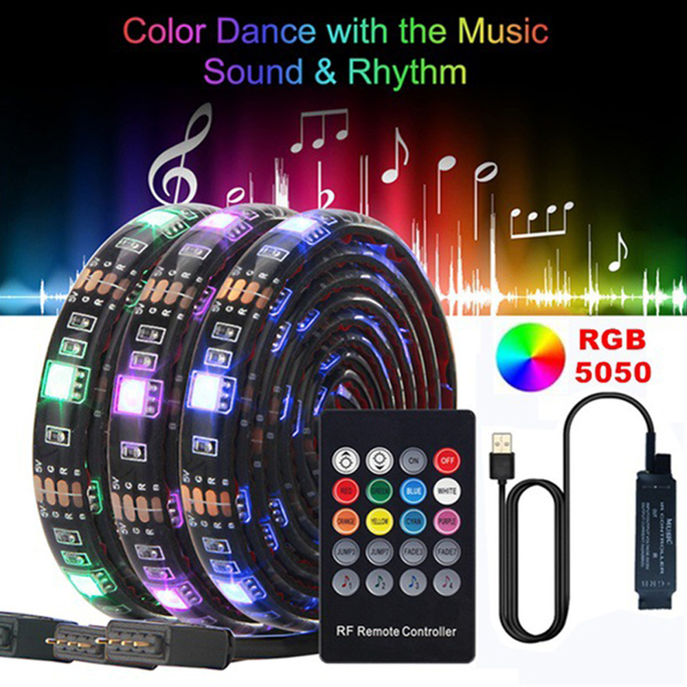 Usb Music Rgb Led Strip Light Waterproof Rgb 5050 Smd Led Light Strip Lighting Backlight Home Tv Room Lights Decor With Control Special Discount F3f825 Cicig