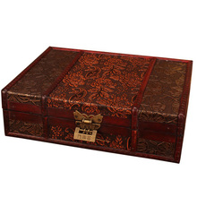 Retro Wooden Lock Jewelry Storage Box Organizer Antique Cosmetic Boxes Home Decor Craft Gift Make Up