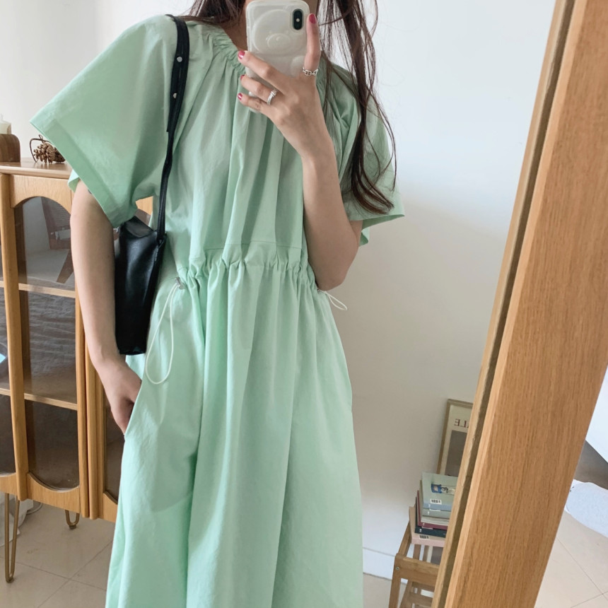 Summer Dress Women Short Sleeve O-neck Draped Loose Draped Pullover Solid Color Ladies Dresses With Pockets Plus Size Vestidos