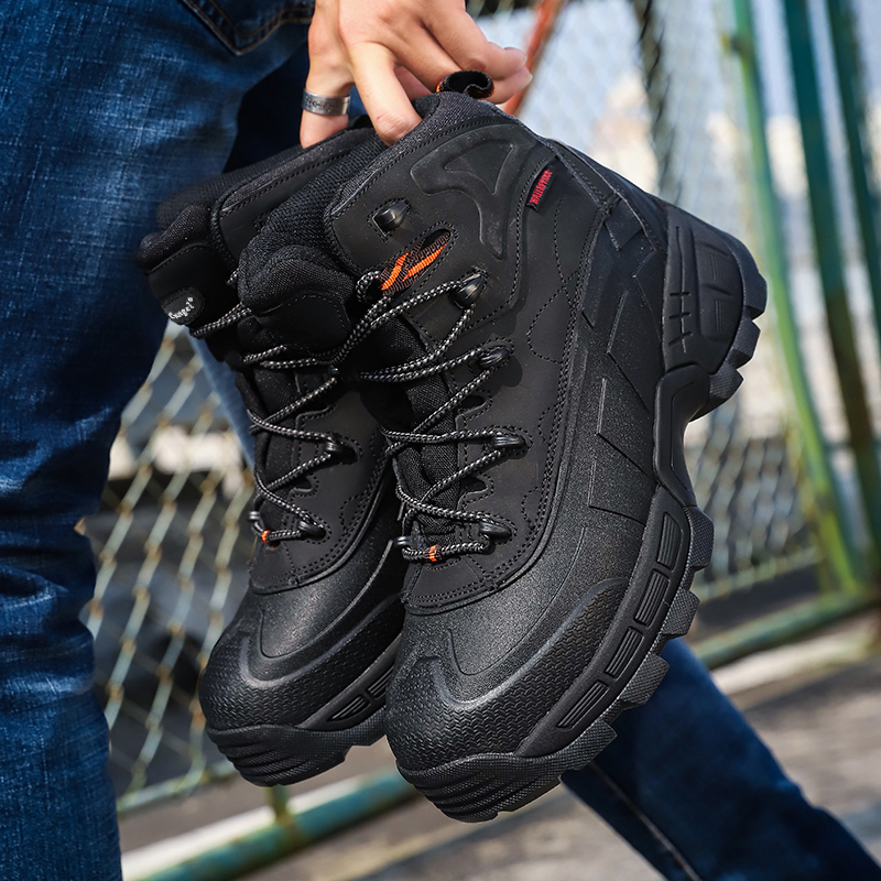 Anti-puncture Men's Work Safety Shoes Outdoor Shoes Puncture Leather Boots Comfortable Industrial Shoeslabor Insurance Shoes