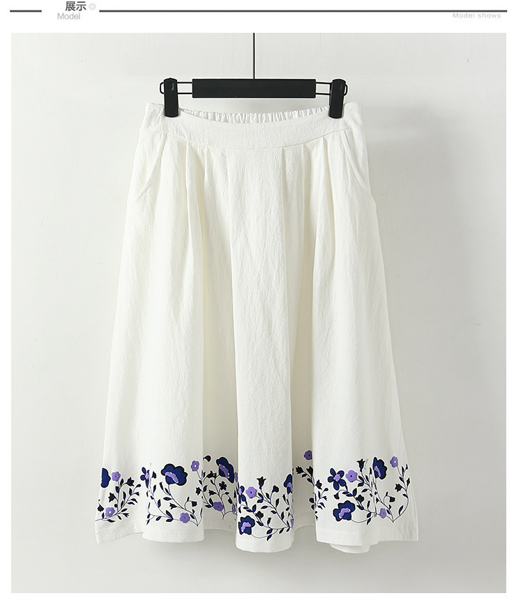 2018 Spring And Summer New Style Ethnic-Style Cotton Linen Printed Skirt Elastic Waist Mid-length Slim Fit A- Line Skirt