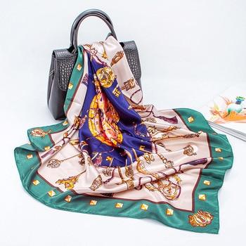Silk Scarf Women Luxury Designer Satin Muslim Hijab Scarves 90cm Square Head Scarfs Shawl Hair Wrap NecKerchief Bandana Foulard cat silk scarf fashion foulard satin shawl scarfs small size 53 53cm square silk hair head scarves women bandana