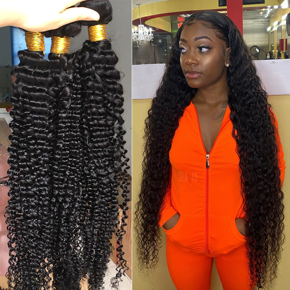 ILARIA Brazilian Hair Weave Bundles Deep Wave 100% Human Hair Extension Remy Curly Hair Bundles 28 30 32 36inch Water Wave Kinky