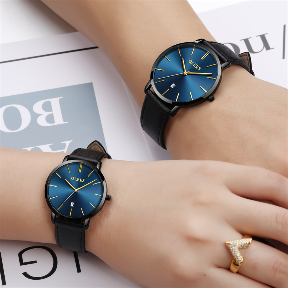 Luxury Fashion Brand Couples To Watch Ultra-thin Men's Quartz Waterproof Watch Leather Belt To Give A Woman A Gift Valentine's