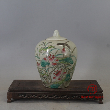 Qing Tongzhi Hand-painted Lotus Winter Melon Can Cover Old Goods Antique Vase Decoration Porcelain Collection Retro Home Decor