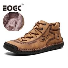 купить Fashion casual Men Boots Handmade cow Split Leather Ankle Snow Boots Shoes Warm Fur Winter Men Shoes Plus size 39-48 дешево