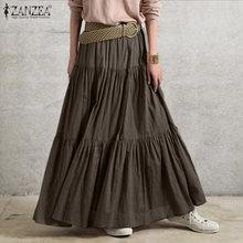 ZANZEA – jupe longue à volants pour femmes, Vintage, couleur unie, taille élastique, surdimensionnée, printemps, 2021