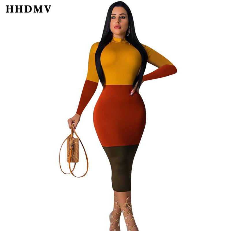 HHDMV ME326 sexy high street style dresses long sleeve high collar joining together dresses tight colorful mid long dresses