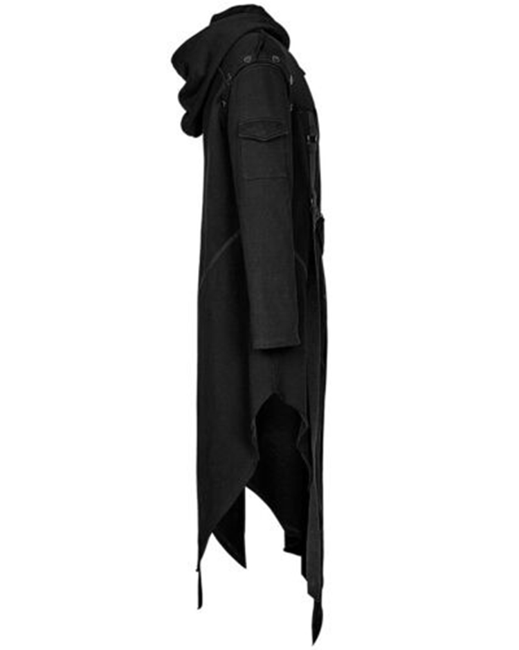 H18e69efca600413d876d8254570c418aQ CYSINCOS Men Long Sleeve Steampunk Victorian Jacket Gothic Belt Swallow-Tail Coat Cosplay Costume Vintage Halloween Long Uniform