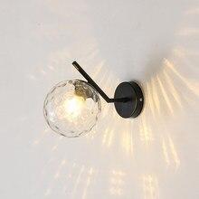 Nordic conduziu a lâmpada de parede quarto cabeceira luz da noite moderna escada corredor varanda preto/dourado bola vidro iluminação arandela interior