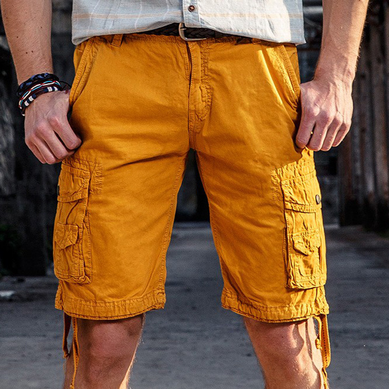 Hot Selling MEN'S Casual Pants Outdoor Large Size Pure Cotton Washing Multi-pockets Men Workwear Shorts