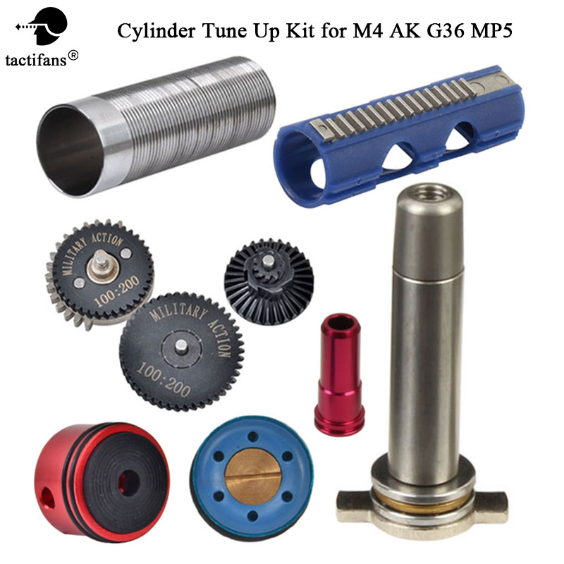 MA 100:200 High Speed Gear SHS 15 Teeth Piston Cylinder Piston Head Spring Guide Nozzle Tune-Up Set For M4/AK/G36/MP5 Airsoft
