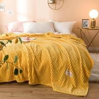침대에 대 한 2019 담요 솔리드 옐로우 컬러 부드러운 따뜻한 300GSM 평방 플 란 넬 담요 침대 두께 던져 담요