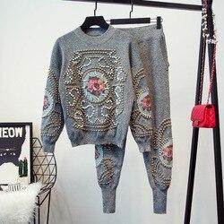 Женский спортивный костюм с вышивкой из бисера, свитер с длинными рукавами и повседневные длинные штаны, вязаный комплект из 2 предметов для...
