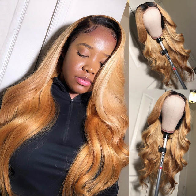 Colored Human Hair Wigs 1b27 Ombre Honey Blonde 13x6 Deep Part Lace Front Wig 250 Density Airuiao Remy Body Wave For Black Women