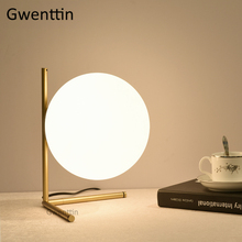 Nordic Glass Ball Moon Table Lamps Modern Led Standing Desk Light Fixtures Luminaire for Bedroom Bedside Lamp Home Loft Decor