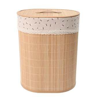 Household Bamboo Laundry Basket Clothes Toy Storage Folding Hamper Sorter Bin Organizer Laundry Hamper Bucket Collapsible Box 3